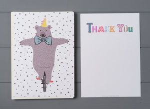 12 Child's Thank You Cards Bear Design