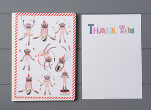 12 Child's Thank You Cards Monkey Design