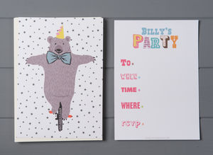 12 Child's Party Invites Bear Design
