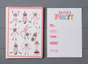 12 Child's Party Invites Monkey Design - children's parties