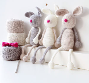 Luxury Bunny Family Crochet Kit - mum loves