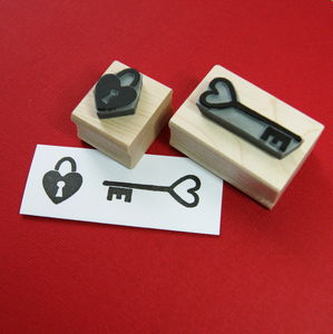 Heart Lock And Key Rubber Stamps
