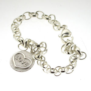 Love Heart Charm Bracelet In Silver - women's jewellery