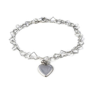 Linked Heart Sterling Silver Bracelet With Charm