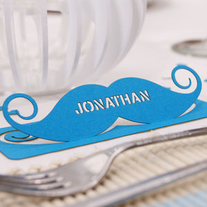 Personalised Moustache Table Name Place Card - winter sale