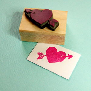 Heart And Arrow Rubber Stamp - stickers & stamps
