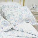 Blue Hearts And Roses Kingsize Quilted Bedspread