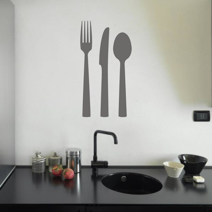 Wonderful knife fork spoon cutlery vinyl wall sticker by mirrorin  GU82