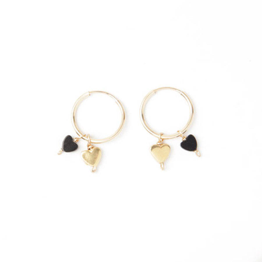 Tiny Gold And Onyx Love Heart Charm Hoop Earrings