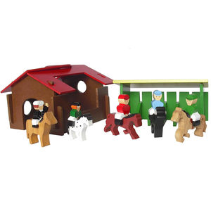 Wooden Riding School Play Set - traditional toys & games