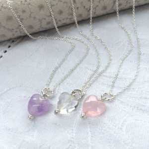 Girl's Silver And Semi Precious Stone Heart Necklace