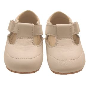 Handmade White T Bar Baby Shoes - christening wear