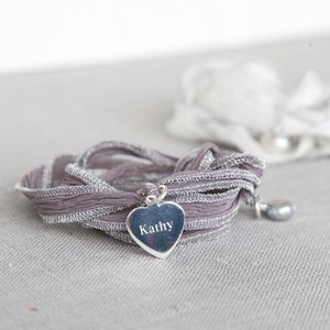 Personalised Silver Heart Silk Wrap Bracelet