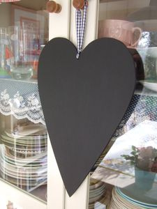 Decorative Folk Art Heart Chalkboard - storage & organisers