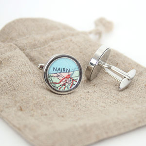 Location Map Cufflinks Gift For Him - women's jewellery