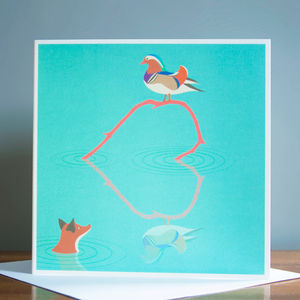 The Fox And The Mandarin Duck Greetings Card