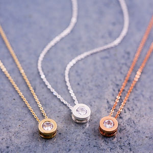 Round Solitaire Necklace - weddings sale