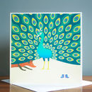 The Fox And The Peacock Greetings Card