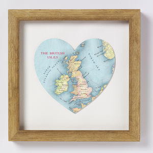 British Isles Map Heart Print