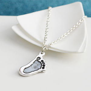 Personalsied Silver Cutout Footprint Necklace