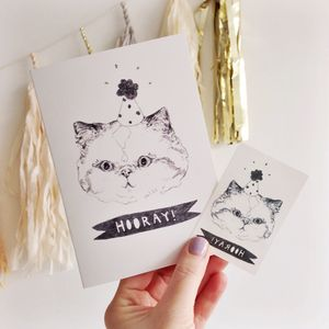 Hooray Celebration Cat Card With Temporary Tattoo - birthday cards