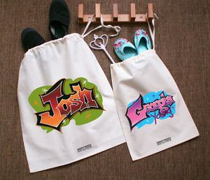 P.E Kit Bag Graffiti Design - bags, purses & wallets