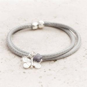 Saphia Woven Cord Silver Butterfly Bracelet