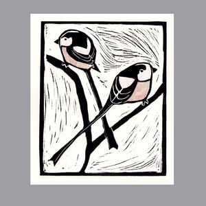 'Long Tailed Tits' Linocut Print - animals & wildlife