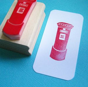 British Postbox Hand Carved Rubber Stamp