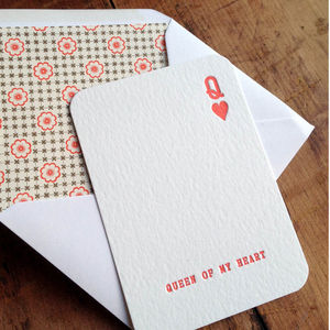 Queen Of My Heart Letterpress Card - valentine's cards