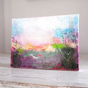 Pink Field, January Painting - canvas prints & art