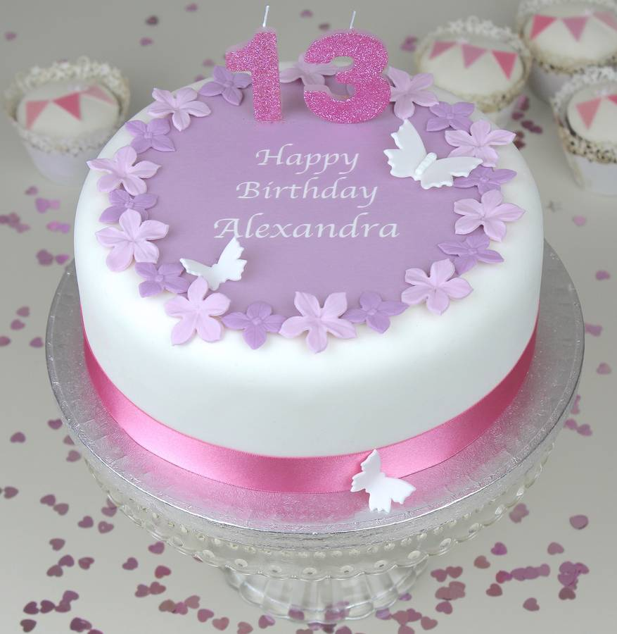 Birthday Cake With MAUVE FLOWERS PINK RIBBON And GLITTER CANDLES