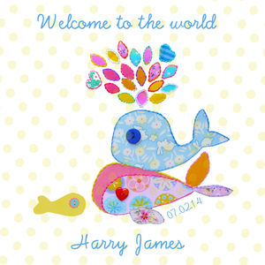 Personalised New Baby Boy 'Welcome To The World' Card