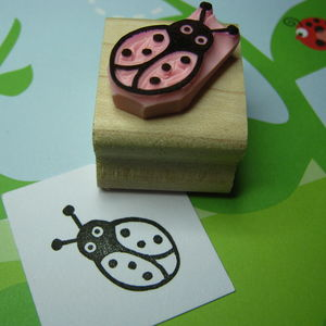 Cute Ladybird Hand Carved Rubber Stamp