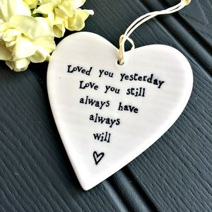 'Love You Still' Porcelain Heart Decoration