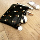 Polka Dot Black Leather Zip Purse