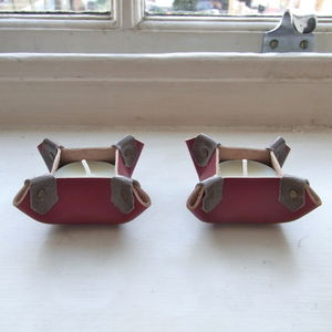 Handmade Red Leather Tealight Holders - votives & tea light holders
