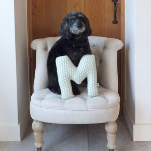 Knitted Spotty Letter Cushion - cushions
