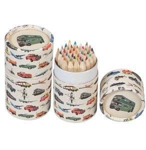 36 Vintage Transport Coloured Pencils - stationery