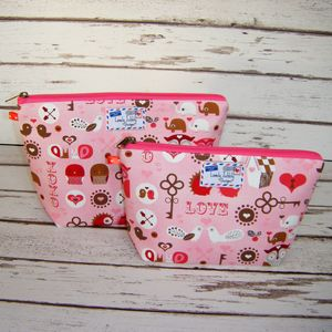 Animal Love Heart Woodland Forest Makeup Wash Bag - travel & luggage