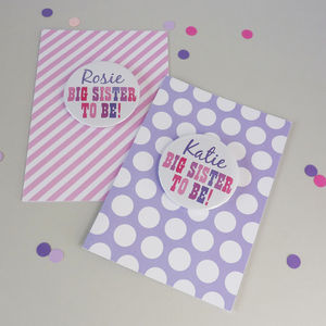 Big Sister To Be Card With Badge - new baby cards
