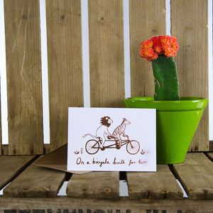 'Bicycle Made For Two' Foil Greeting Card - gold foil