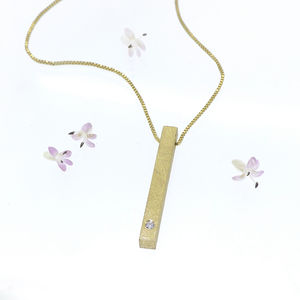 Diamond Bar Necklace In 18ct Gold - fine jewellery