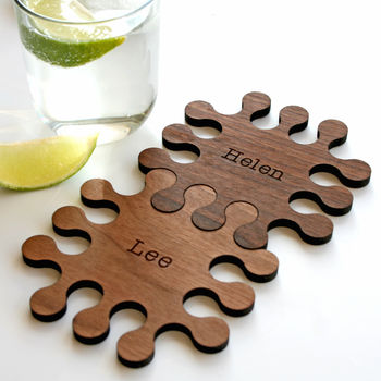 Set Of Two Personalised Wood Jigsaw Coasters