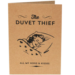 'The Duvet Thief' Valentines Day Card - valentine's cards