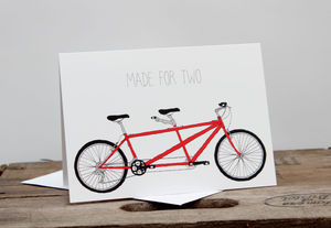Tandem Bike Made For Two Card