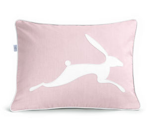 Running Hare Dusty Pink Cushion - bedroom