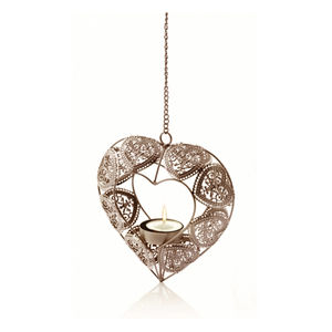 Hanging Silver Effect Tealight Candle Holder