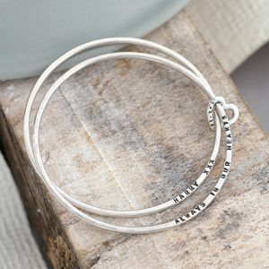 Personalised Double Bangle With Heart