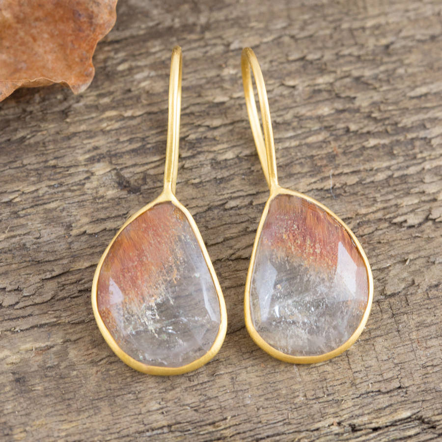 Golden rutilated quartz drop earrings by embers gemstone for Golden rutilated quartz jewelry